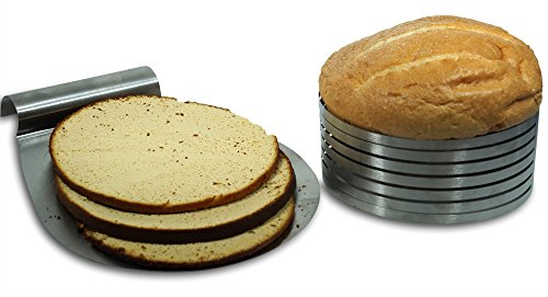 Goods N' Goodies Cake Slicer Kit Bundle - 2 items: Adjustable Mousse Mold Layer Cake Cutter & Cake Server