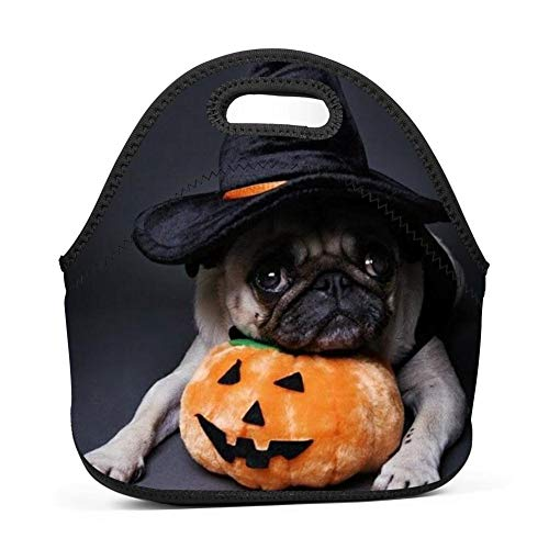 Halloween Pug Dog Labrador Shiba Inu Puppy Bulldog Lunch Bag Box Tote for Men Women Students Girls Kids School Work Picnic -
