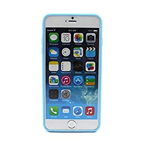 """Fashion Candy Color Rubber Edge Fitted Cover Case Skin for iPhone 6 Plus 5.5"""" Light Blue"""