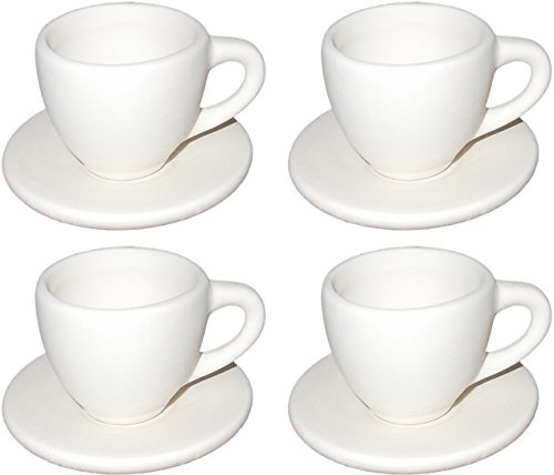 Child Ceramic (Add On Tiny Tea Cup and Saucer for the Children's Tea Party Set - Set of 4 - Paint Your Own Ceramic Keepsake)