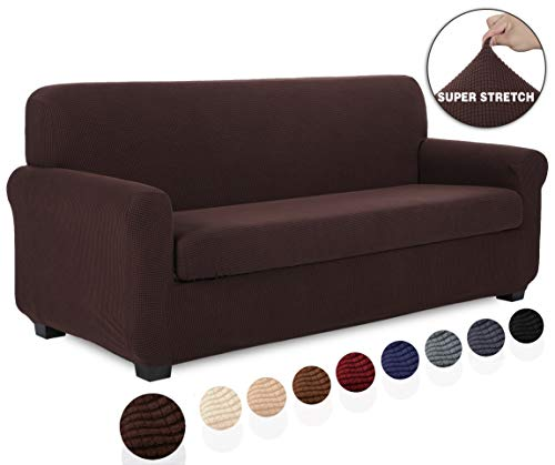 TIANSHU 2 Piece Sofa Slipcover, Stretch Couch Cover for Sofa, Stylish Jacquard Furniture Covers (Sofa, Chocolate)