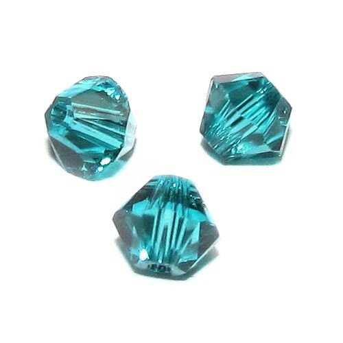 (72 pcs Swarovski Crystal 5328 Xilion Bicone Bead Spacer Blue Zircon 3mm / Findings / Crystallized Element)