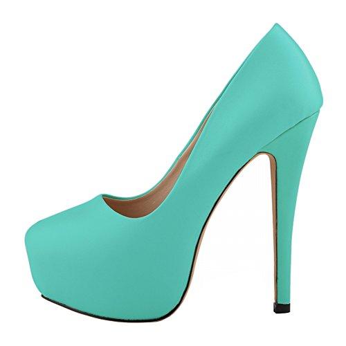 Zbeibei High Leather Pumps Stiletto Heels Dress Women's Platform Green Matt aqaSHO