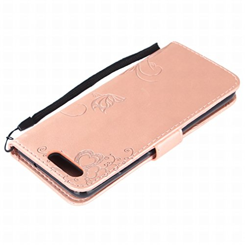 LEMORRY Huawei P10 Case Leather Flip Wallet Pouch Slim Fit Bumper Protection Magnetic Strap Stand Card Slot Soft TPU Cover Huawei P10 / VTR-L09 / VTR-L29, Amor de la Flor (Rosa) Oro rosa
