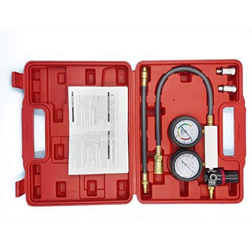 ge System Cylinder leak tester compression leakage detection kit Set Pressure Gauge Tool for Petrol Engine 0-100PSI ()