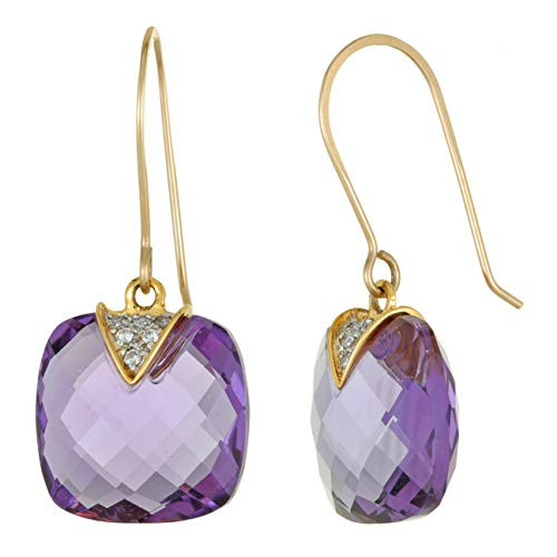 13MM Cushion Shaped Amethyst and .08 Cttw Diamond 14K Yellow Gold French Wire Earrings