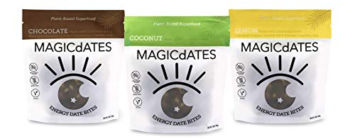 Energy Bites- 100% Plant-Based Date Snack, MAGICdATES, Non-GMO Verified, On-the-Go Healthy Snack, Vegan, Gluten-Free, NO Sugar Added (For Office, Pre/Post Workout, Kids), [3.5 OZ packs, 3 pack]