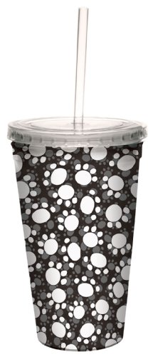 Tree-Free Greetings 80298 Paw Print by Debbie Mumm Artful Traveler Double-Walled Acrylic Cool Cup with Reusable Straw, 16-Ounce