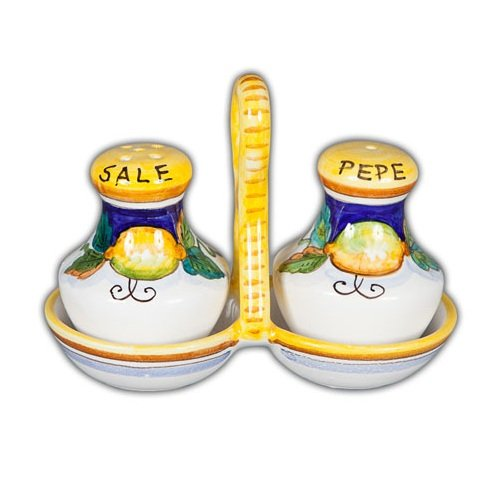 (Hand Painted Italian Ceramic Daphne Salt and Pepper with Tray - Handmade in Deruta)