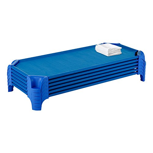 (Sprogs SPG-16137CS-SO Heavy Duty Stackable Daycare Cot Standard Rest Mat w/Easy Lift Corners and Cot Sheets, Blue (Pack of 6))