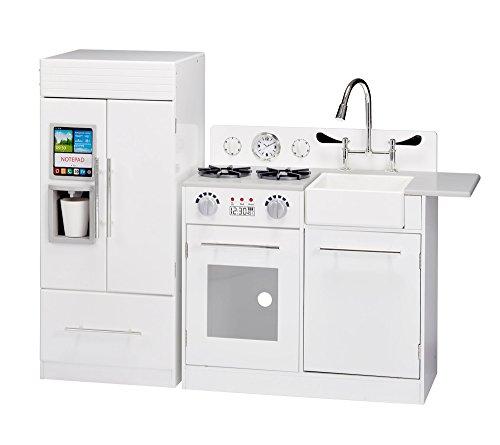 (Teamson Kids - Modern Wooden Kids Play Kitchen, Toddler Pretend Play Set with accessories, White)