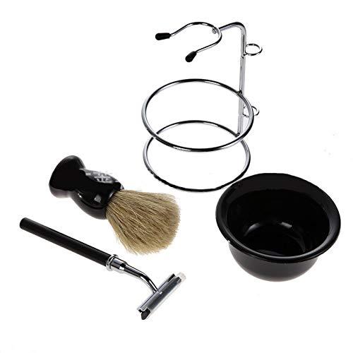 3T6B Shaving Kit for Men Set Including Long Handle Razor + Bowl + Hair Shaving Brush + Stand Holder 4Pcs