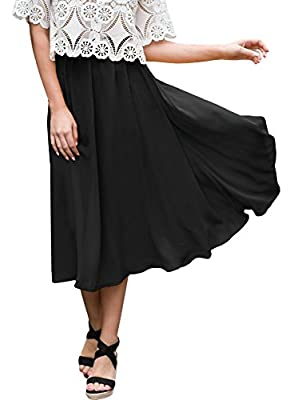 For G and PL Women's Solid Color Casual Elastic Waist Flowy Midi Skirt
