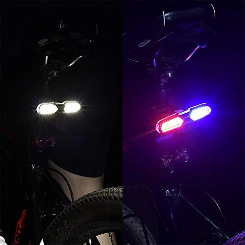 WOVELOT Feu Arriere de Velo A LED Haut de Gamme Blanc Rouge et Bleu Lampe durgence de Multifonction Etanche Rechargeable USB Ultra Brillant 46 COB