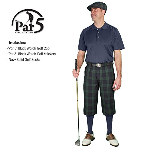 (Golf Knickers Outfit - Plaid - Stewart Collection - Matching Golf Cap and Over-The-Calf Socks: Mens 'Par 5' - Black Watch - 36