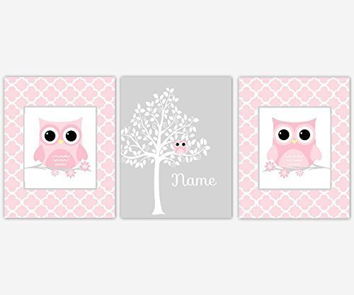 Baby Girl Nursery Wall Art Owls Pink White Silhouette Tree Personalize Name Baby Nursery Decor SET OF 3 UNFRAMED PRINTS