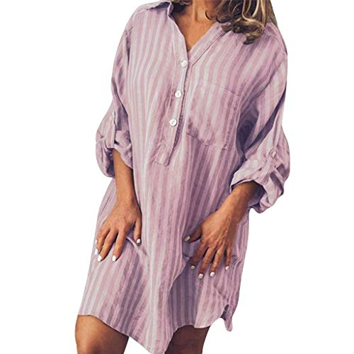 iHPH7 T Shirt Dresses Short Sleeve Swing Dress Fashion Summer Casual Button Striped Print V-Neck Dress Women (M,1- Pink)
