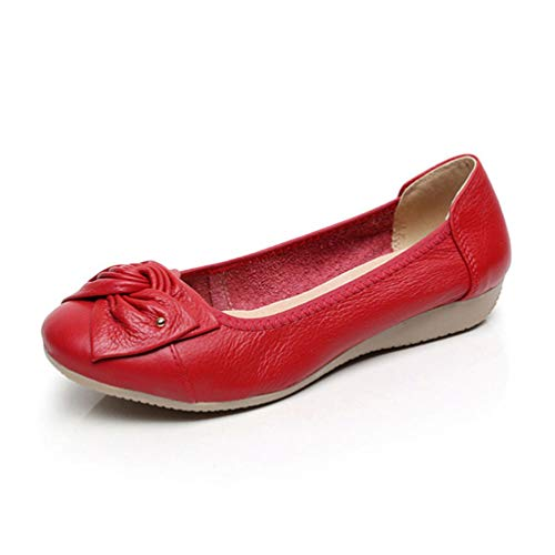JRenok Women Flats Ballet Loafers Butterfly-Knot Slip-On Cow Leather Solid...