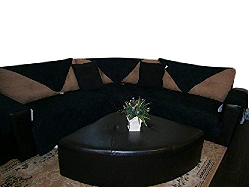 (OctoRose  Quilted Micro Suede Sectional Sofa Throw Pad Throw Furniture Protector in Different Size (Black, 35x35))
