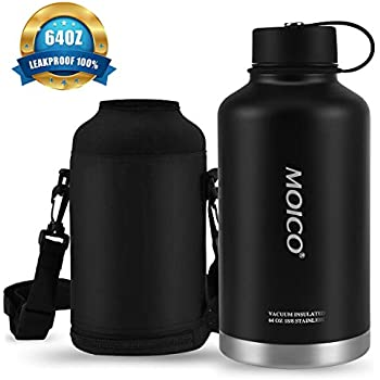 64 oz Stainless Steel Water Bottle, MOICO Double Wall Vacuum Insulated Water Bottle, Keeps Cold 24 Hours & Hot 12 Hours, BPA Free Leak Proof Wide Mouth with Carry Bag - Black