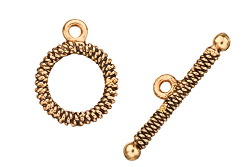 Snake chain design round antique-gold finished toggle clasp set 16x30mm sold per 12pairs per pack
