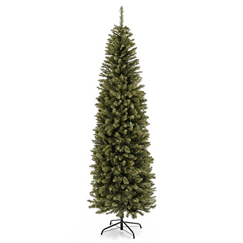 Best Choice Products 7.5ft Premium Hinged Fir Pencil Artificial Christmas Tree w/Foldable Stand, Easy Assembly - - Christmas White Decorated Trees