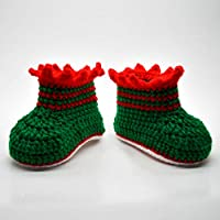 Crochet Green Booties for Infant or Newborn Baby, Unisex Gift for Baby First Christmas, Gender Neutral Crib Shoes