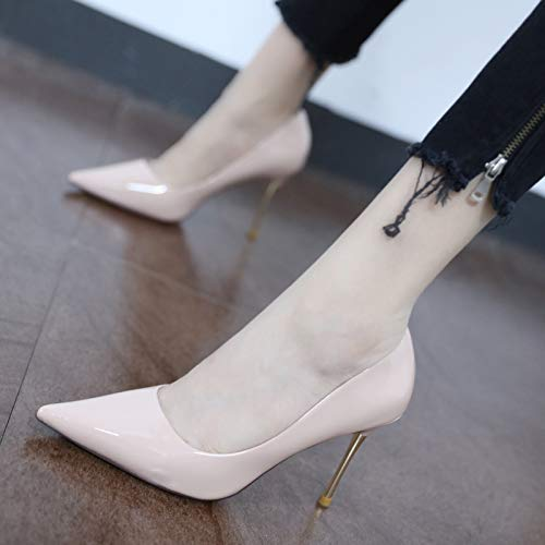 High Single Nude Autumn Black Female Point Yukun Color Heels Wild High heels Pink Shallow Leather Patent Shoes Pointed Shoes Commuter 39 Mouth FAxdx0q