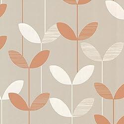 Decorline 2533-20203 Ernst Linear Leaf Wallpaper, Orange