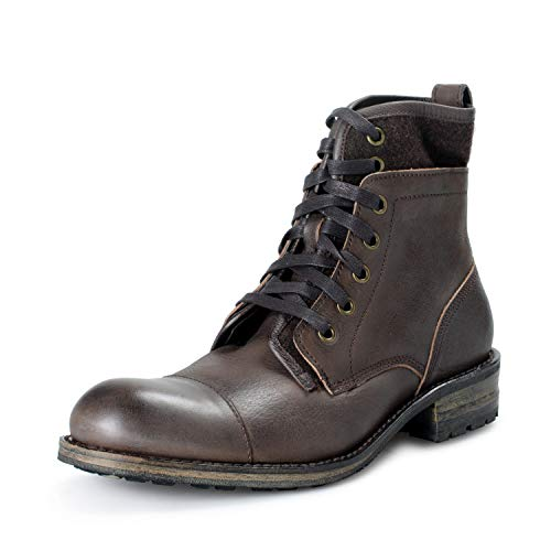 John Varvatos Star USA Men's Lincoln Leather Motorcycle Boots Shoes US 7 IT 40 Dark Brown