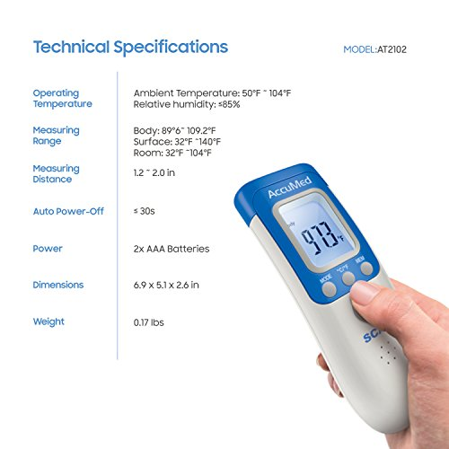 AccuMed AT2102 Non-Contact, Instant-Read Handheld Infrared Medical Thermometer - 7-in-1 FunctionalityFDA Approved with Non-invasive, Professional Accuracy for Home Medical Use by AccuMed (Image #3)