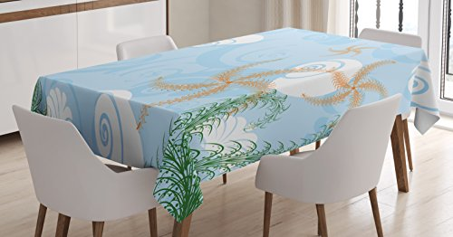 Ambesonne Ocean Tablecloth, Coastal Theme Decorative Under Sea Background Snails and Starfish Print, Dining Room Kitchen Rectangular Table Cover, 60W X 84L inches, Light Blue and White (Snail Table)