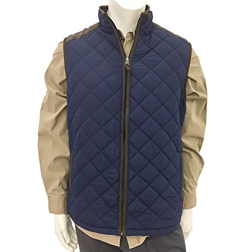 - Coleman Men's Quilted Vest With Faux Suede Trim Navy, Size S