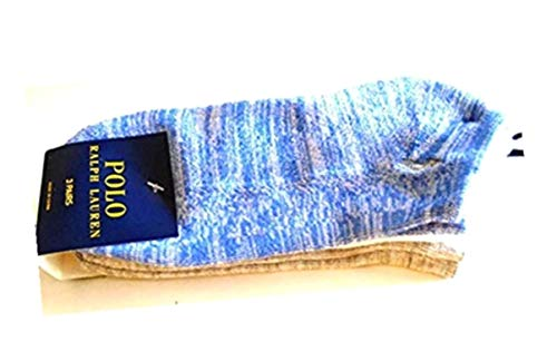 POLO Ralph Lauren Women's Low Cut Ankle Cushioned Casual Day Athletic Socks 3 PAIR (Blue Denim/White/Grey)