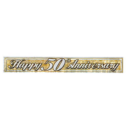 Metallic 50th Anniversary Fringe Banner (gold) Party Accessory  (1 count) - Banner Anniversary 50th
