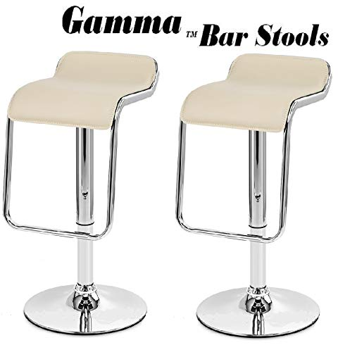 Creme South Mission Gamma Adjustable Synthetic Leather Bar Stools - Brown (Set of 2) (Creme)