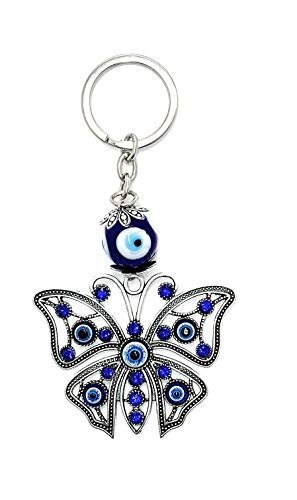 Lucky Butterfly and Evil Eye Good Luck Keychain Ring, Handbag Charm with Rhinestone Crystals for Good Luck and Blessing, Great Gift
