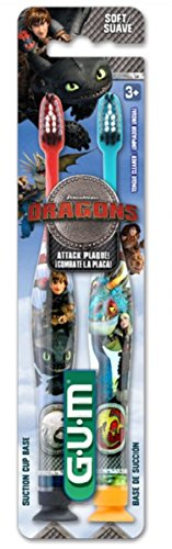 Sunstar 4060K How to Train Your Dragon - Manual Toothbrush, Dome Trim Bristle, Value Pack Dragon Toothbrush