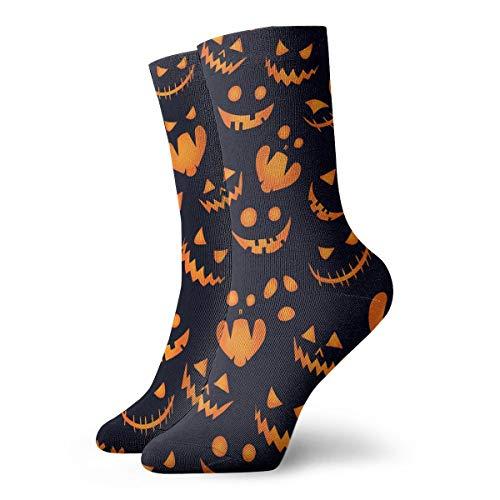 YIEOFH Halloween Pumpkin Background Novelty Boys Girls Fashion Cute Funny Casual Art Crew Socks -
