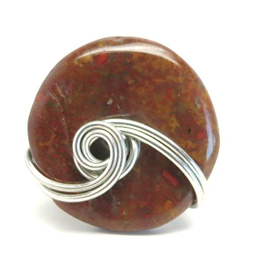 Jasper Ring 55 Red Donut Stone Wire Wrapped (Size - 55 Stone