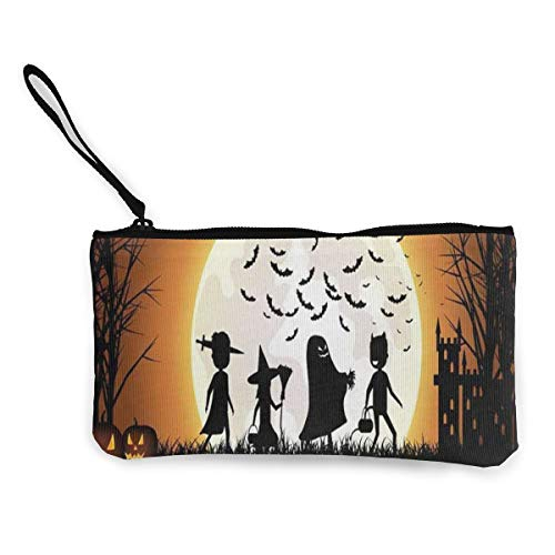 (Trick-Or-Treating Halloween Bat Women's Travel Makeup Bags Canvas Coin Purse Personalized Passport Organizer)