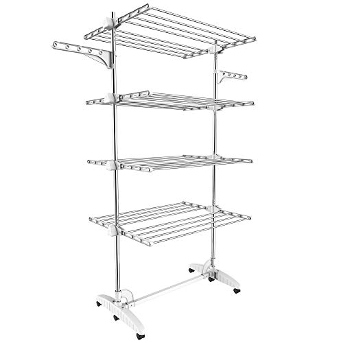 Todeco - Laundry Drying Rack, Clothes Airer - Material: Stainless steel tubes - Maximum load: 6.7 lbs per support bar - 4 shelves, White, with wings