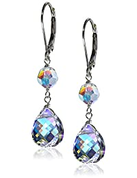 Sterling Silver with Swarovski Elements Crystal Aurora Borealis Double-Drop Earrings
