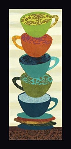 "Stacking Cups I by Jeni Lee - 9""x22"" Framed Giclee Canvas Art Print - Ready to Hang"