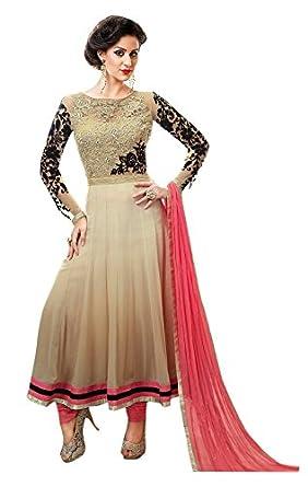 c342cd5c62 Image Unavailable. Image not available for. Colour: Brijraj Party Wear  Cream Coloured Net Embroidered Anarkali Suit ...