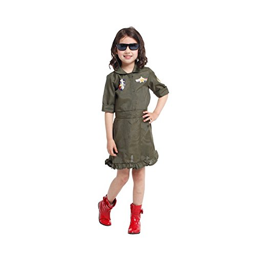 Dunnomart Girls Dresses Top Gun Air Force Halloween Costume Polyester Kids Career Role Cosplay Fancy Army Green Clothing Costumes