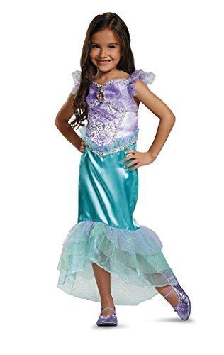 Girls Princess Deluxe Ariel Dress Costume Size Medium 7/8 Green Purple