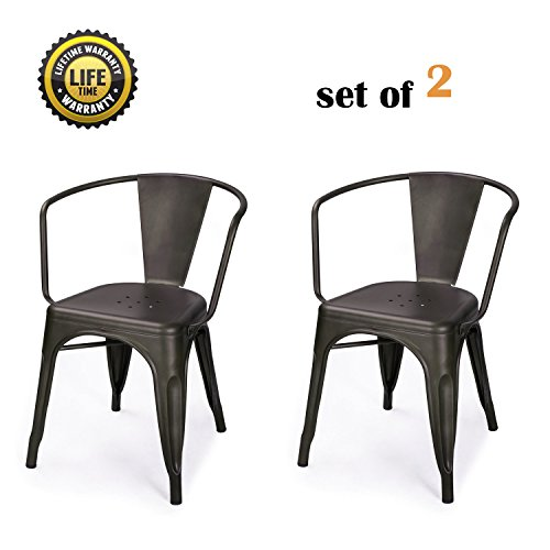 DecentHome Metal Stackable Dining Bistro Cafe Side Chairs Set of 2 Bronze