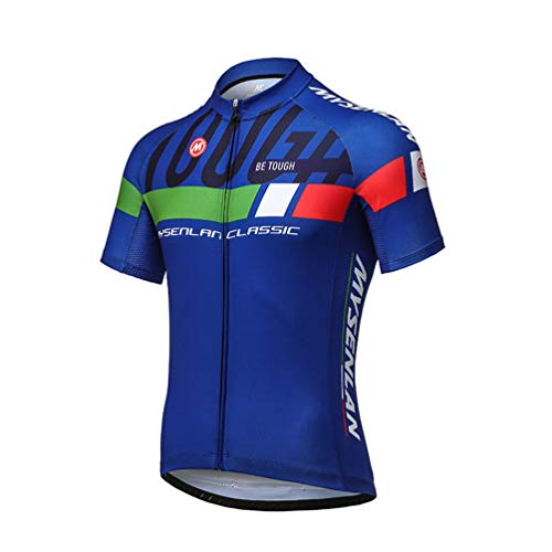 Mysenlan Men's Cycling Jersey Short Sleeve Shirts Bike Bicycle Breathable Riding Sports Jerseys Blue L