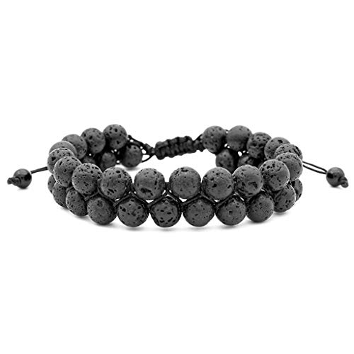 Usstore  1PCS Adults Unisex Natural Stone DoubleBracelet Beautiful 8mm Lava Rock Beads Frosted Agate Clear String Gift (A, Length:7-7.5INCH)